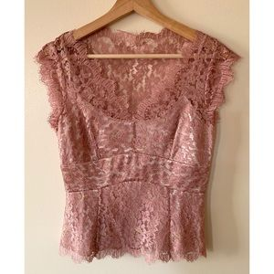 Ann Taylor • 2 • V-neck Rose Gold Lace Blouse